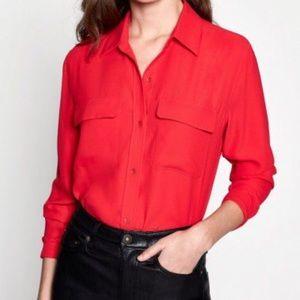 Equipment slim signature shirt red size small